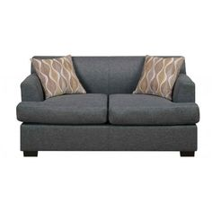 Poundex Loveseat in Blue Grey Finish with Two Accent Pillows F7972
