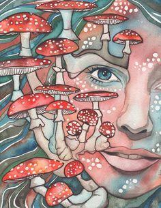 AMANITA Mushroom Woman 8.5x11 print of by DeepColouredWater, $40.00