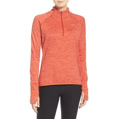 Women's Nike 'Element' Sphere Half Zip Running Shirt ($85) ❤ liked on Polyvore featuring activewear, activewear tops, half zip shirt, raglan shirts, raglan sleeve shirts, nike sportswear and red raglan shirt
