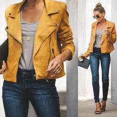 Because you can never go wrong with aviators and a clutch . Yellow Jacket Outfit, Leather Jacket Outfits, Faux Leather Jackets, Coloured Leather Jacket, Orange Leather Jacket, Outfits Mujer, Mode Blog, Workwear Fashion, Vestidos