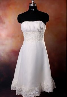 Organza Strapless A-line Simple Petite Destination Wedding Dress - Bride - WHITEAZALEA.com