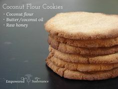These simple three ingredient coconut flour cookies are made with coconut flour, butter (or coconut oil) and honey!