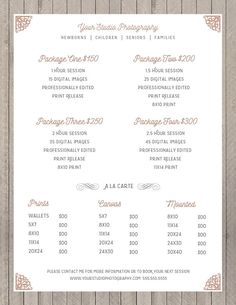 Price Sheet Photography Template – Photography Price List – Marketing – Photoshop Template Photograp – Photography, Landscape photography, Photography tips Photography Price List, Photography Contract, Wedding Photography Pricing, Photography Templates, Photography Marketing, Photography Basics, Photography Packaging, Photography Logos, Photography Backdrops
