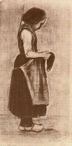 Vincent van Gogh (Dutch: 1853~1890)   Peasant Girl Standing (1881)