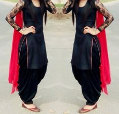 Latest Kurta Designs with Patiala Salwar Salwar Designs, Patiala Suit Designs, Kurti Designs Party Wear, Black Salwar Suit, Patiala Salwar Suits, Black Punjabi Suit, Churidar, Black Kurti, Designer Salwar Kameez