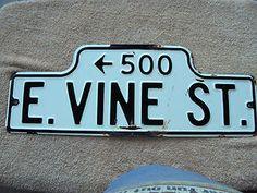 VINTAGE LODI CALIFORNIA  STREET SIGN HUMPBACK PORCELAIN EARLY 1920'S ANTIQUE