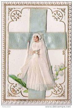 Arte Y Antigüedades Espejos Bonito Antiguo Marco De Fotos Con Imagen Comunión 1905 Buy Now