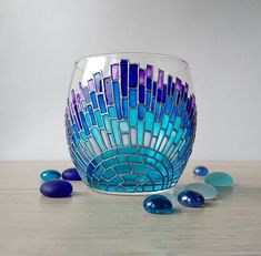 Without Blue Wine Glass Stem, Custom Hand Painted Wine Glasses - Daily Good Pin Glass Painting Patterns, Glass Painting Designs, Stained Glass Patterns, Stained Glass Art, Glass Bottle Crafts, Wine Bottle Art, Verre Design, Glass Design, Mosaic Art