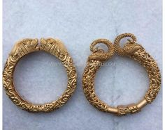 Gold Statement Kada Bangles, Gold Antique Kada Bangle Designs, Gold Statement Bangle Models.