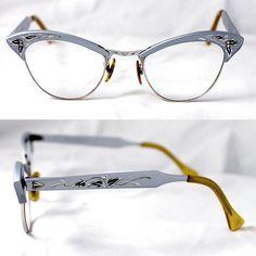 1950's 1960's Vintage Cat Eye Glasses Aluminum by suzytodd on Etsy