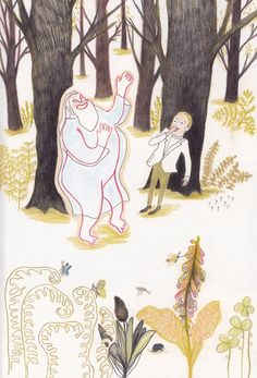 """""""Le petit homme et Dieu"""" de Kitty Crowther Kitty Crowther, Graphic Illustration, Colored Pencils, Childrens Books, Kawaii, Nice Things, Painting, Belgium, Inspiration"""