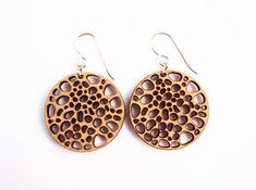 Dried Lotus Laser Cut Earrings by foliadesignsf on Etsy, $44.00