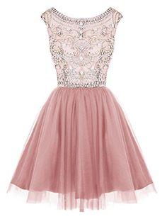 Dressystar Short Tulle Prom Homecoming Dresses Beaded Bal…