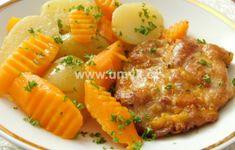 Hlavní jídla – U Miládky v kuchyni Cantaloupe, Pork, Menu, Cooking Recipes, Fruit, Ethnic Recipes, Sweet, Kale Stir Fry, Menu Board Design