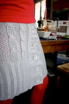 Upcycled sweater skirt  Great idea for doll skirt using the sleeve cuff