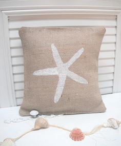 Starfish Burlap Pillow Cover - Starfish Decorations, Beach Cottage, Summer Party Decor