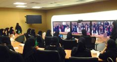 Schools girls at Cisco offices in Saudi Arabia capital Riyadh talked with girls from Turkey, Lebanon, Oman and the United Arab Emirates using Cisco technology for #GirlsInICT Day.  Cisco Networking Academy is teaching ICT skills to thousands of girls in the Middle East.   #CSR #CiscoCSR #GirlsInIct #NetAcad