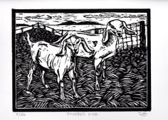 Two Goats Hand Pulled Linoleum Block Print by ColorOnPaper on Etsy, $40.00