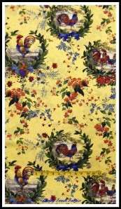 ROOSTER CHICKEN FLORAL FRENCH COUNTRY FABRIC ~SOLD BY THE YARD