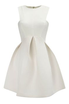 abaday | abaday Pleated Sleeveless Flared Sheer White Dress, The Latest Street Fashion