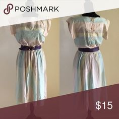 """Vintage Pastel colored Dress Vintage pastel color blue, purple and baby pink dress, with elastic waist                                 Bust: 34""""-36"""" Waist: unstretched:29"""" can stretch up to 36"""" size: S/M Vintage Dresses"""