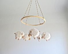 Sheep baby mobile lamb nursery decor farm new by pingvini