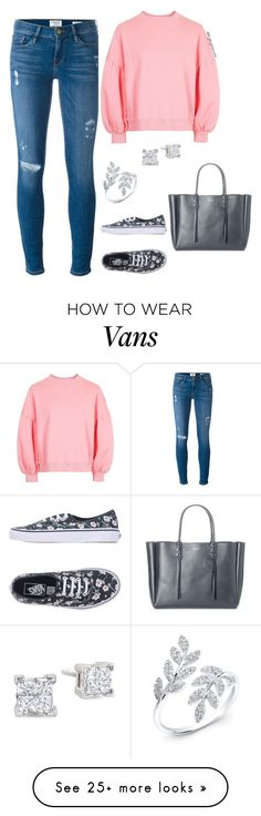 """Pink Jumper"" by style-by-shannon-leeper on Polyvore featuring Frame, Topshop, Vans, Lanvin and Anne Sisteron"