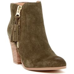 Aldo Pausha Bootie ($70) ❤ liked on Polyvore featuring shoes, boots, ankle booties, stacked heel bootie, stacked heel ankle boots, round toe boots, short boots and stacked heel booties