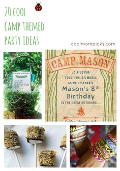 Cute birthday theme for a boy's birthday party!!!!  How to throw a camp-themed party. (Cheaper than buying all those uniforms)