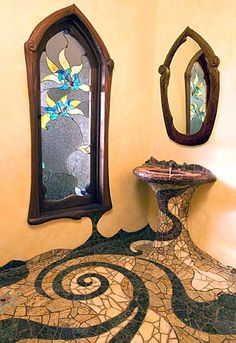 Lance Jordan's mosaic bathroom... practical or not, how great would it be to have this in your house? Reminds me of Tim burton
