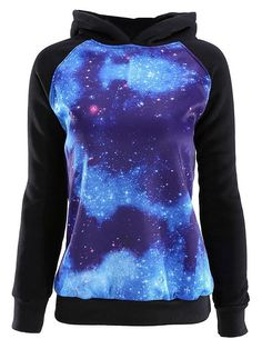 Ayliss® Unisex Galaxy Stars Astronomy Print Hooded Long Sleeve Sweater,Lovers(Blue M) Blue Long Sleeve Tops, Long Sleeve Sweater, Galaxy Sweatshirt, Galaxy Outfit, Galaxy Fashion, Girl Outfits, Fashion Outfits, Gothic Fashion, Ferrat
