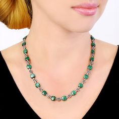Stripe Malachite Sterling Silver Necklace