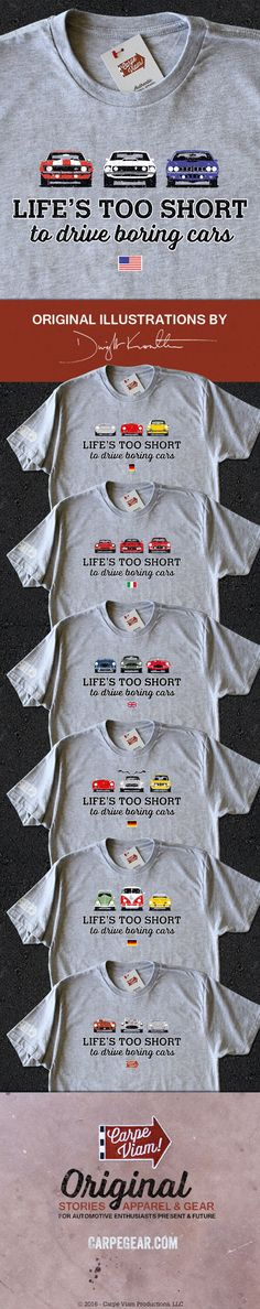 A top quality t-shirt with top quality automobiles! Original illustrations and design Dwight Knowlton – award-winning author and illustrator of The Little Red Racing Car, The Greatest Race and the coming The Small Silver Speedster.