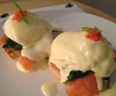 Smoked salmon eggs benedict with herring roe. Blender hollandaise all the way!