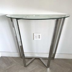 We have stock of this gorgeous stainless steel and glass console table, give us a call if you want to brighten up your entranceway. Toilet Brush, Brushed Stainless Steel, Console Table, Entryway Tables, Glass, Furniture, Home Decor, Decoration Home, Drinkware
