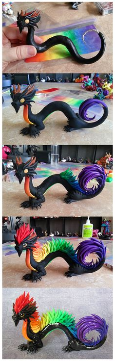 Oriental Rainbow Progress by DragonsAndBeastie. on deviantART Oriental Rainbow Progress de Dragons Polymer Clay Kunst, Polymer Clay Dragon, Fimo Clay, Polymer Clay Charms, Polymer Clay Projects, Polymer Clay Creations, Clay Crafts, Art Crafts, Diy Art