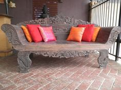 Teak Traditional Balinese Carved Daybed