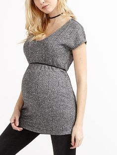 8823b28f07c Stork   Babe - Cap Sleeve Ribbed Maternity Tunic