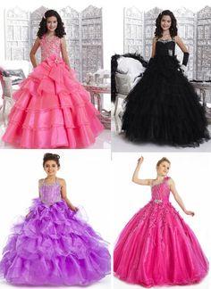 Beaded Little Girls Pageant Dresses Ball Gown Flower Girl Dress Size all Custom