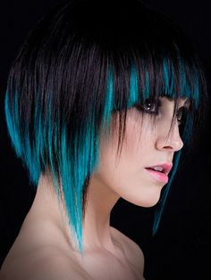 Awesome disconnected haircut with black and teal peekaboo color. Oh dear, ideas are starting to hatch in my brain... ;-P