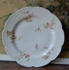French Limoges Pink Floral Plate by ValsVintageShoppe on Etsy, $19.00