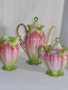 RS Prussia Porcelain Teapot Tea Set with Sugar & Creamer