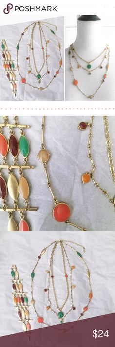 """🍭REDUCED!🍭Guess? Multi-Color Necklace + Bracelet Guess? Brand Multi-Color, Multi-Strand Necklace + Bracelet Set.  Gold-Tone hardware with orange, coral, green, brown & cream-colored accents.  Guess? brand """"G"""" charm on necklace clasp.  Excellent pre-owned condition!  PLS VIEW PHOTOS & ASK QUESTIONS BEFORE SUBMITTING OFFER OR BUYING!  Item comes from a smoke-free, pet-friendly home! Pls note that although I do my best to remove all extra fibers, the occasional pet hair may sneak through…"""