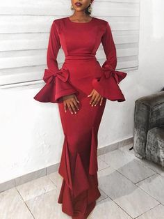 Women's Sexy Fashion Dresses Online Shoppifcang at joyshoetique Latest African Fashion Dresses, African Print Fashion, Classy Dress, Classy Outfits, Dinner Gowns, Evening Dresses With Sleeves, Plain Dress, African Dress, Ladies Dress Design