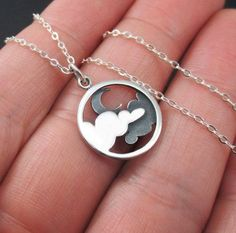 Moon and Cloud Necklace Sterling Silver Moon Necklace CLoud