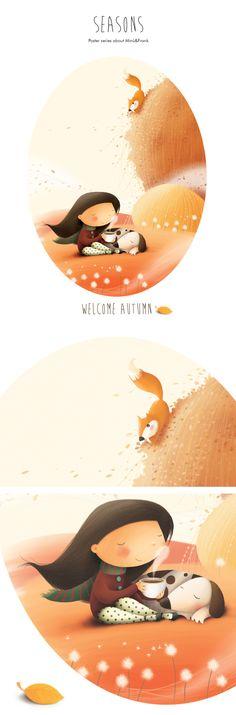 Seasons - poster series / Welcome Autumn by Elisa Ferro, via Behance