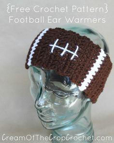 Cream Of The Crop Crochet ~ Football Ear Warmers {Free Crochet Pattern}