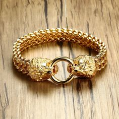 3a6d29bd5b75c9 Antique Double Lion Head Herringbone Chain Bracelet for Men Stainless Steel  Gold Tone Hip Hop Punk Men Jewelry 22.5cm