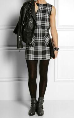 Karl Lagerfeld Punk tartan wool mini dress.  Plaid & Leather makes me happy!! ♧