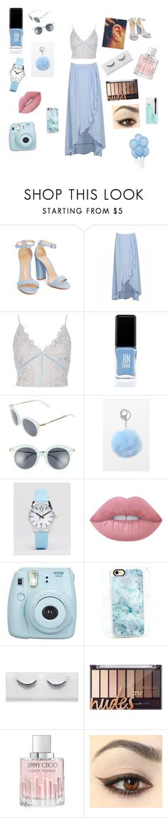 """""""Baby blue"""" by kittykoutore ❤ liked on Polyvore featuring River Island, JINsoon, A.J. Morgan, LA: Hearts, Limit, Lime Crime, Fujifilm, Casetify and Jimmy Choo"""